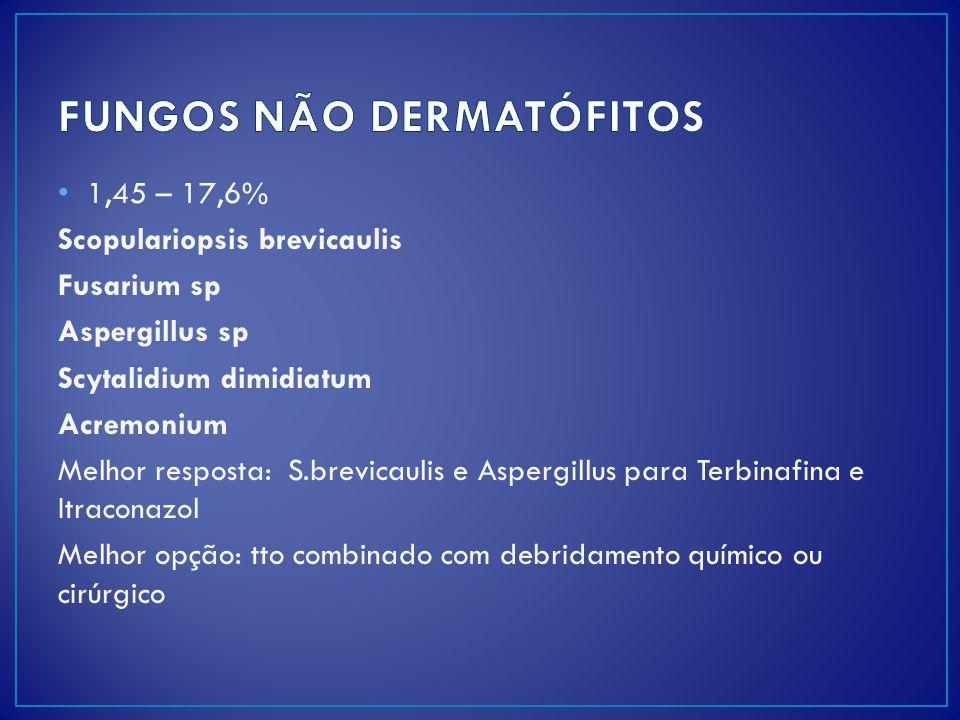 1,45 – 17,6% Scopulariopsis brevicaulis Fusarium sp Aspergillus sp Scytalidium dimidiatum Acremonium Melhor resposta: S.brevicaulis e Aspergillus para