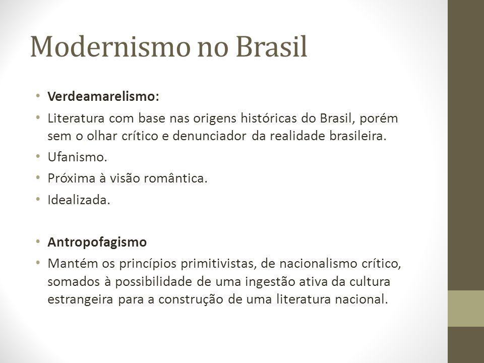 Modernismo no Brasil Verdeamarelismo: Literatura com base nas origens históricas do Brasil, porém sem o olhar crítico e denunciador da realidade brasi