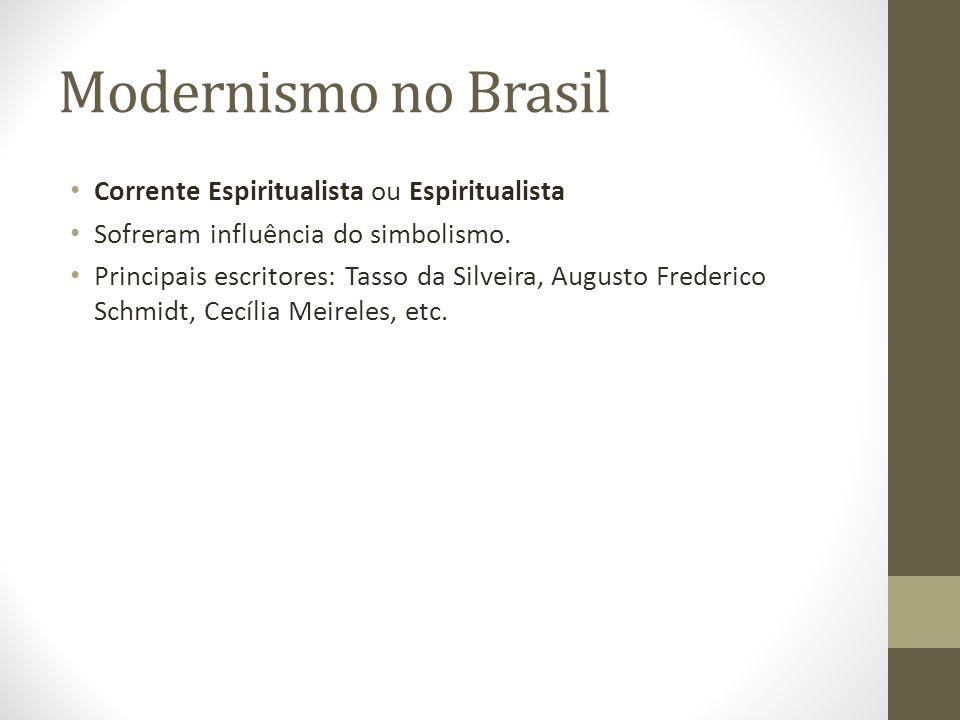 Modernismo no Brasil Corrente Espiritualista ou Espiritualista Sofreram influência do simbolismo. Principais escritores: Tasso da Silveira, Augusto Fr