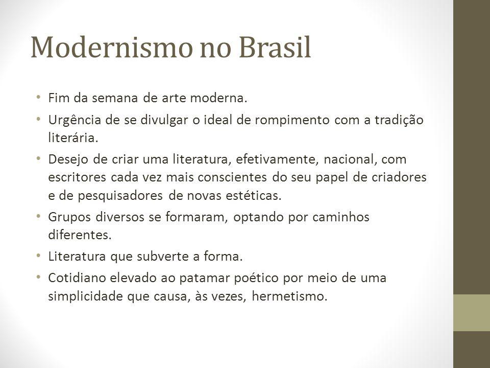 Modernismo no Brasil Fim da semana de arte moderna. Urgência de se divulgar o ideal de rompimento com a tradição literária. Desejo de criar uma litera