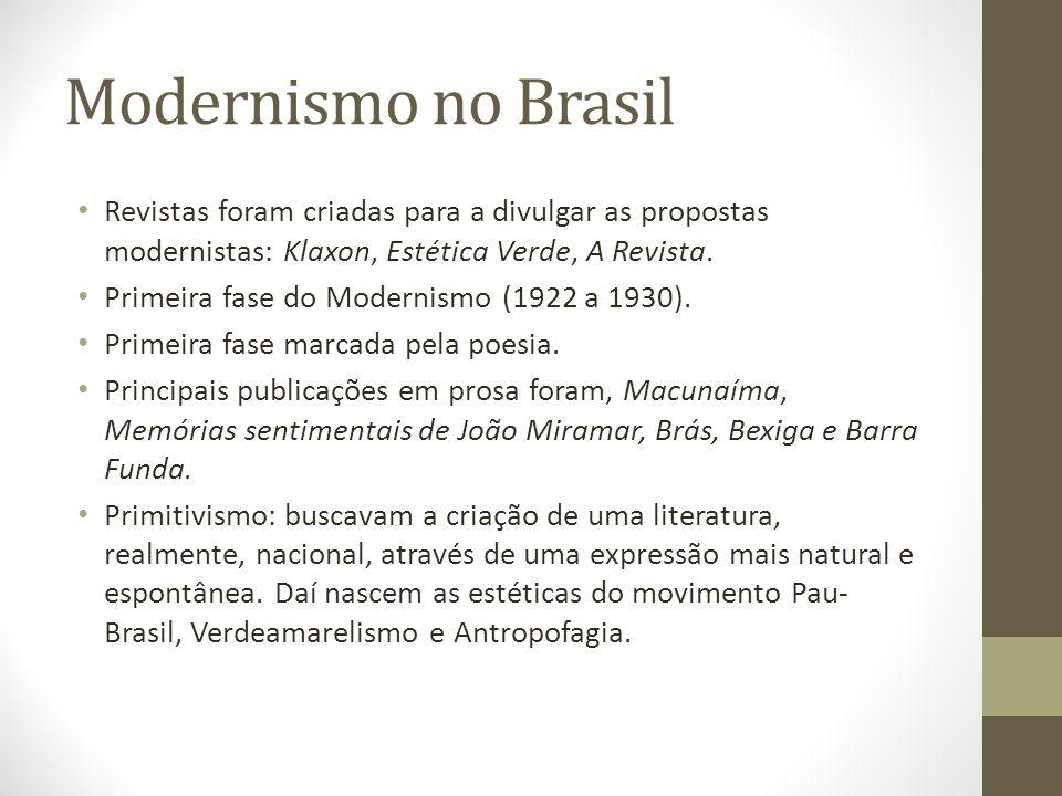 Modernismo no Brasil Revistas foram criadas para a divulgar as propostas modernistas: Klaxon, Estética Verde, A Revista. Primeira fase do Modernismo (