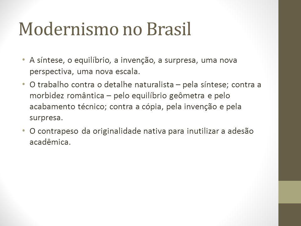 Modernismo no Brasil A síntese, o equilíbrio, a invenção, a surpresa, uma nova perspectiva, uma nova escala. O trabalho contra o detalhe naturalista –