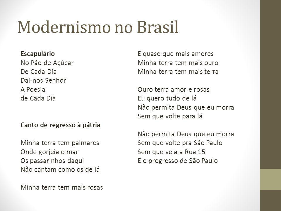 Modernismo no Brasil Escapulário No Pão de Açúcar De Cada Dia Dai-nos Senhor A Poesia de Cada Dia Canto de regresso à pátria Minha terra tem palmares