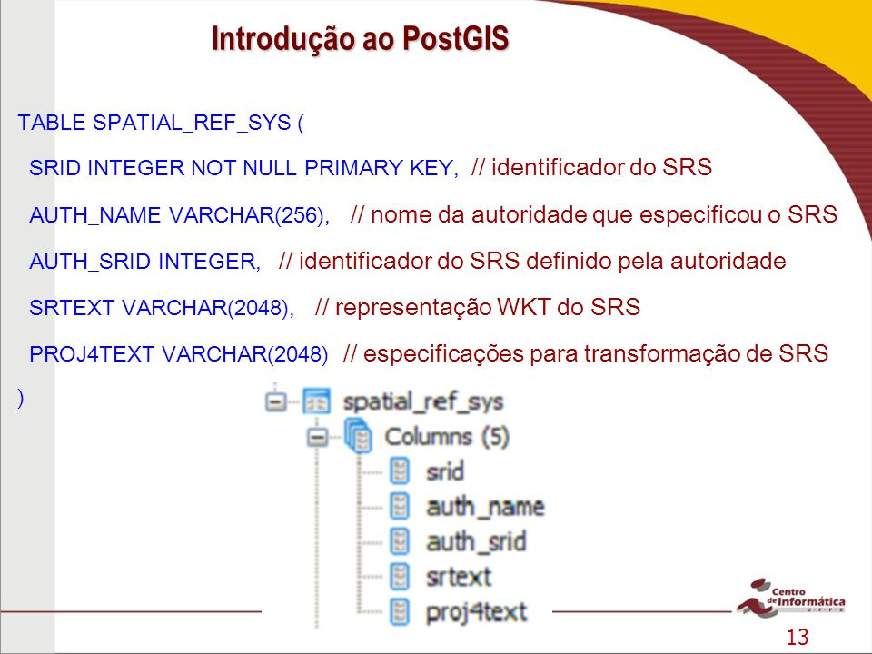 13 TABLE SPATIAL_REF_SYS ( SRID INTEGER NOT NULL PRIMARY KEY, // identificador do SRS AUTH_NAME VARCHAR(256), // nome da autoridade que especificou o