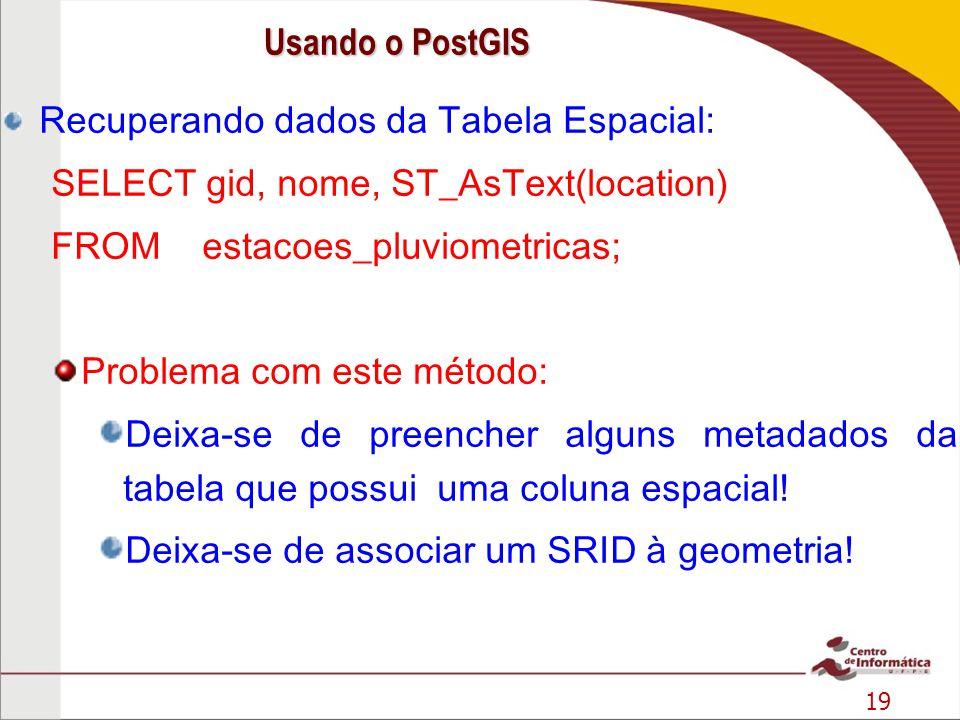19 Recuperando dados da Tabela Espacial: SELECT gid, nome, ST_AsText(location) FROM estacoes_pluviometricas; Problema com este método: Deixa-se de pre