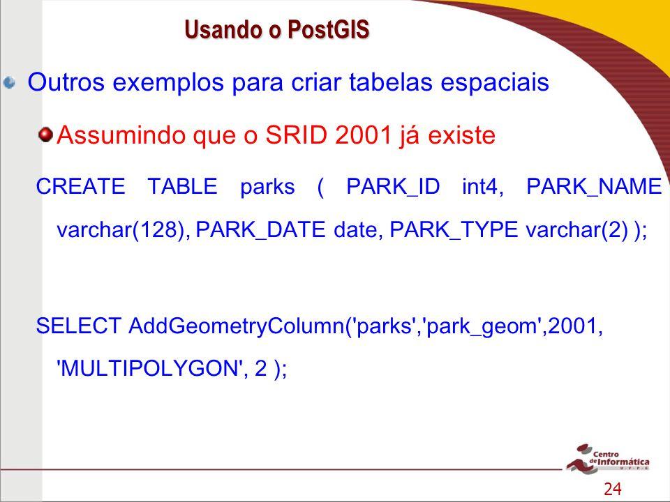 24 Outros exemplos para criar tabelas espaciais Assumindo que o SRID 2001 já existe CREATE TABLE parks ( PARK_ID int4, PARK_NAME varchar(128), PARK_DA
