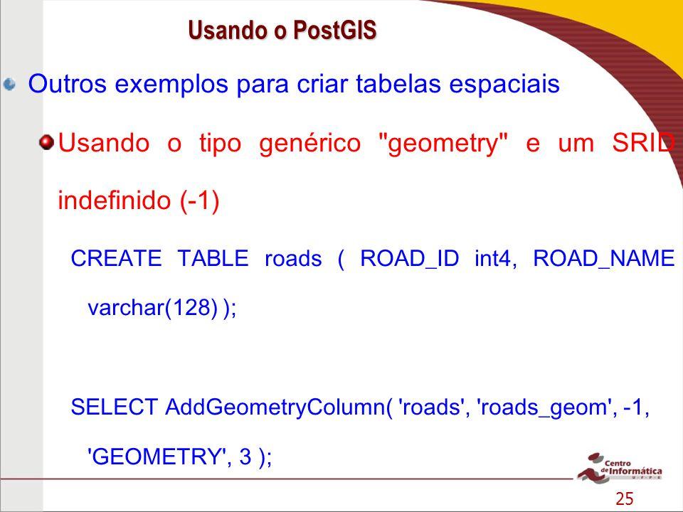 25 Outros exemplos para criar tabelas espaciais Usando o tipo genérico