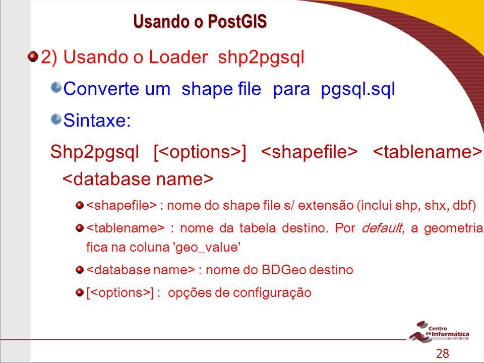 28 2) Usando o Loader shp2pgsql Converte um shape file para pgsql.sql Sintaxe: Shp2pgsql [ ] : nome do shape file s/ extensão (inclui shp, shx, dbf) :