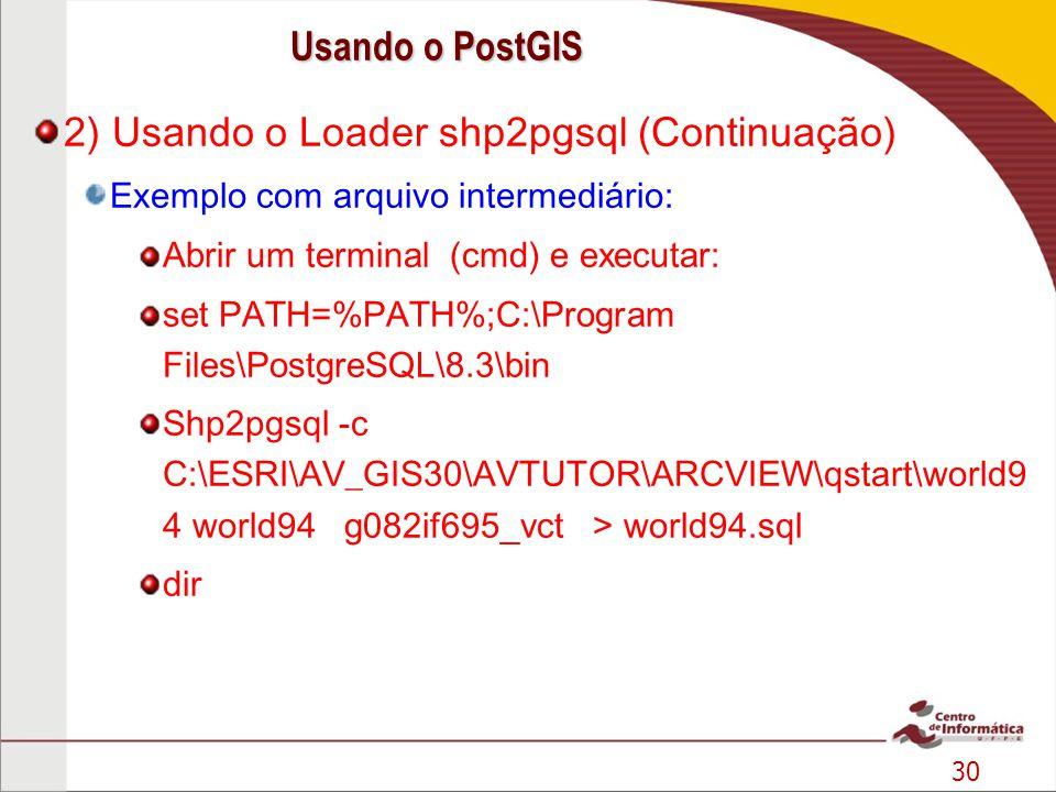 30 2) Usando o Loader shp2pgsql (Continuação) Exemplo com arquivo intermediário: Abrir um terminal (cmd) e executar: set PATH=%PATH%;C:\Program Files\