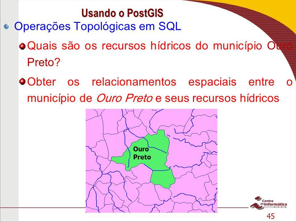 45 Operações Topológicas em SQL Quais são os recursos hídricos do município Ouro Preto? Obter os relacionamentos espaciais entre o município de Ouro P