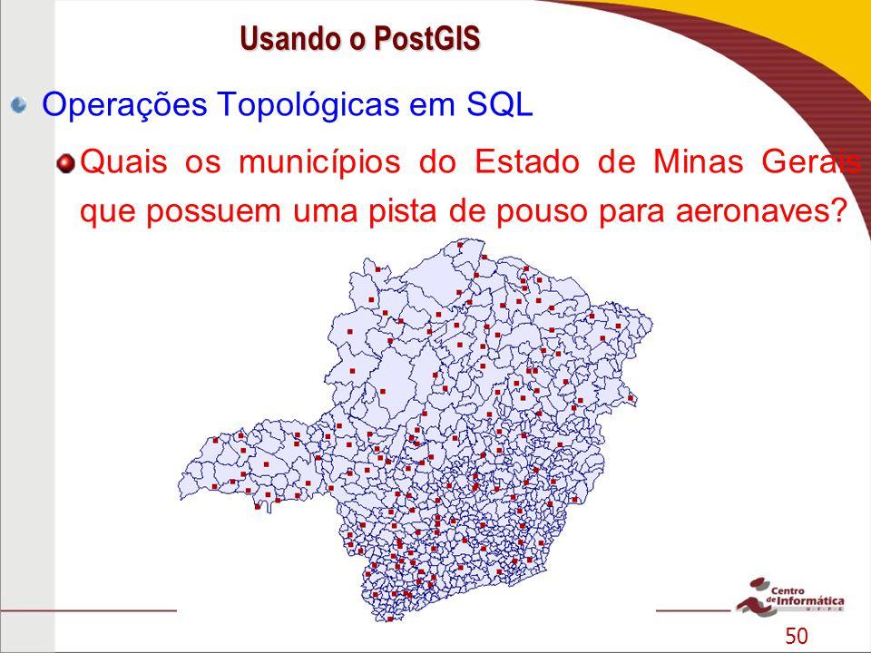 50 Operações Topológicas em SQL Quais os municípios do Estado de Minas Gerais que possuem uma pista de pouso para aeronaves? Usando o PostGIS
