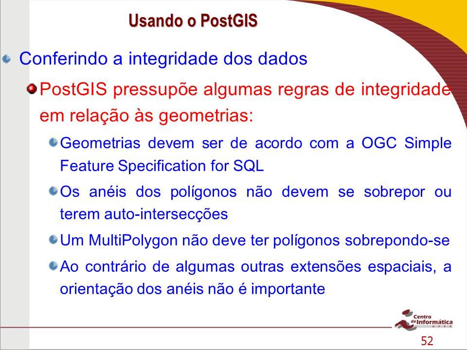 52 Conferindo a integridade dos dados PostGIS pressupõe algumas regras de integridade em relação às geometrias: Geometrias devem ser de acordo com a O
