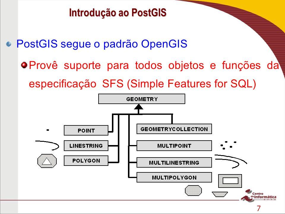 7 PostGIS segue o padrão OpenGIS Provê suporte para todos objetos e funções da especificação SFS (Simple Features for SQL) Fonte: INPE Introdução ao P