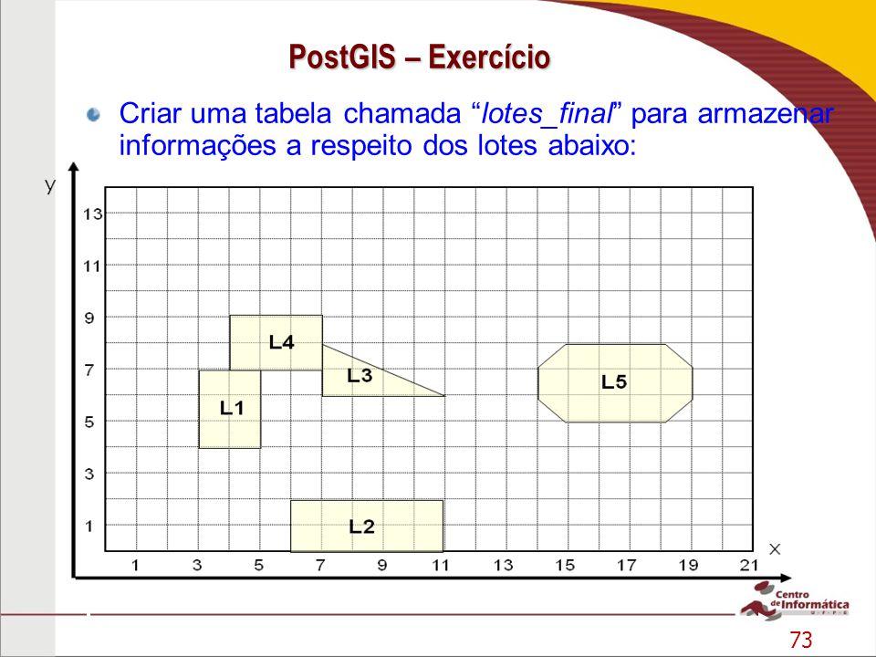 73 PostGIS – Exercício Criar uma tabela chamada lotes_final para armazenar informações a respeito dos lotes abaixo: y 13579111315171921