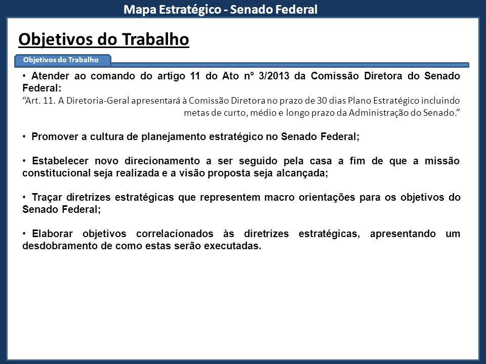 Mapa Estratégico - Senado Federal Objetivos do Trabalho Atender ao comando do artigo 11 do Ato n° 3/2013 da Comissão Diretora do Senado Federal: Art.