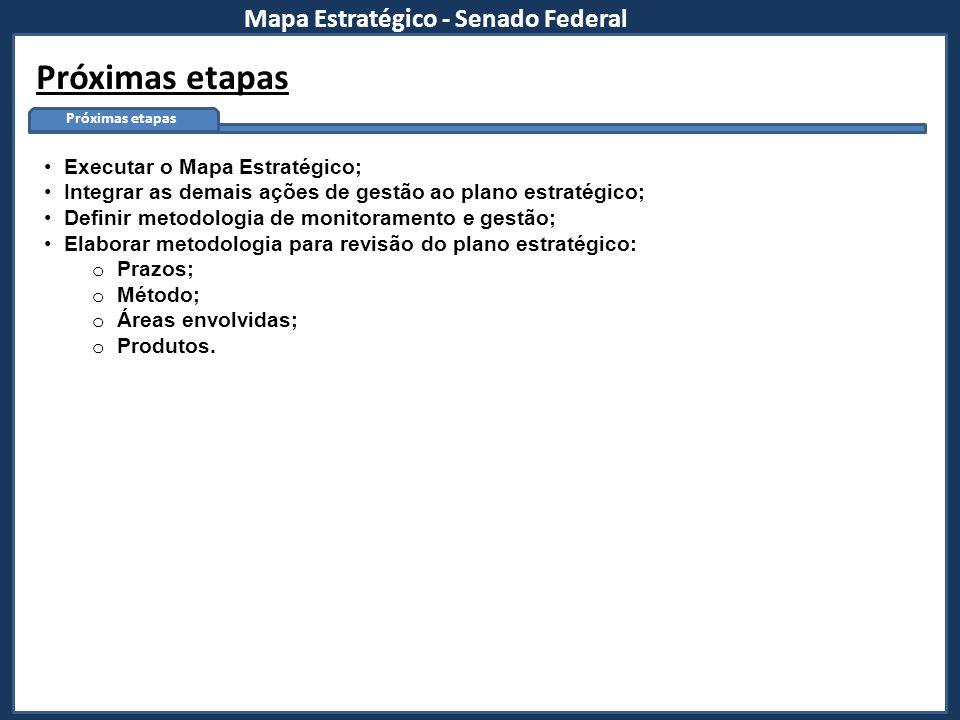 Mapa Estratégico - Senado Federal Próximas etapas Executar o Mapa Estratégico; Integrar as demais ações de gestão ao plano estratégico; Definir metodo
