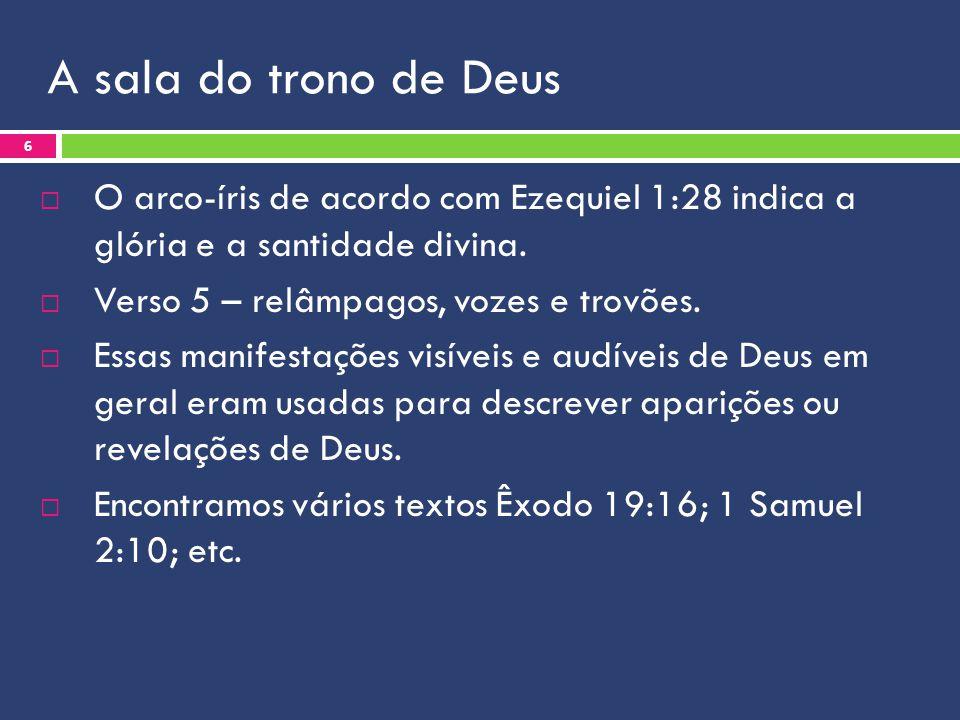 A sala do trono de Deus O arco-íris de acordo com Ezequiel 1:28 indica a glória e a santidade divina. Verso 5 – relâmpagos, vozes e trovões. Essas man