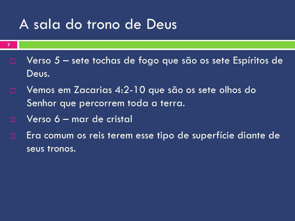 A sala do trono de Deus Verso 5 – sete tochas de fogo que são os sete Espíritos de Deus. Vemos em Zacarias 4:2-10 que são os sete olhos do Senhor que