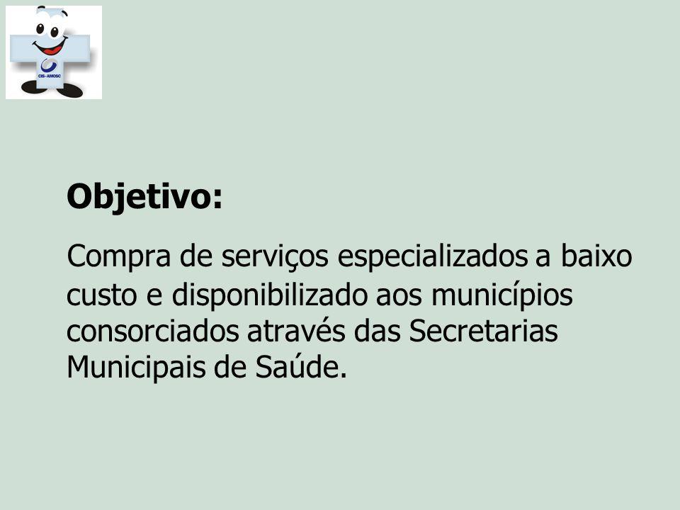 Objetivo: Compra de serviços especializados a baixo custo e disponibilizado aos municípios consorciados através das Secretarias Municipais de Saúde.