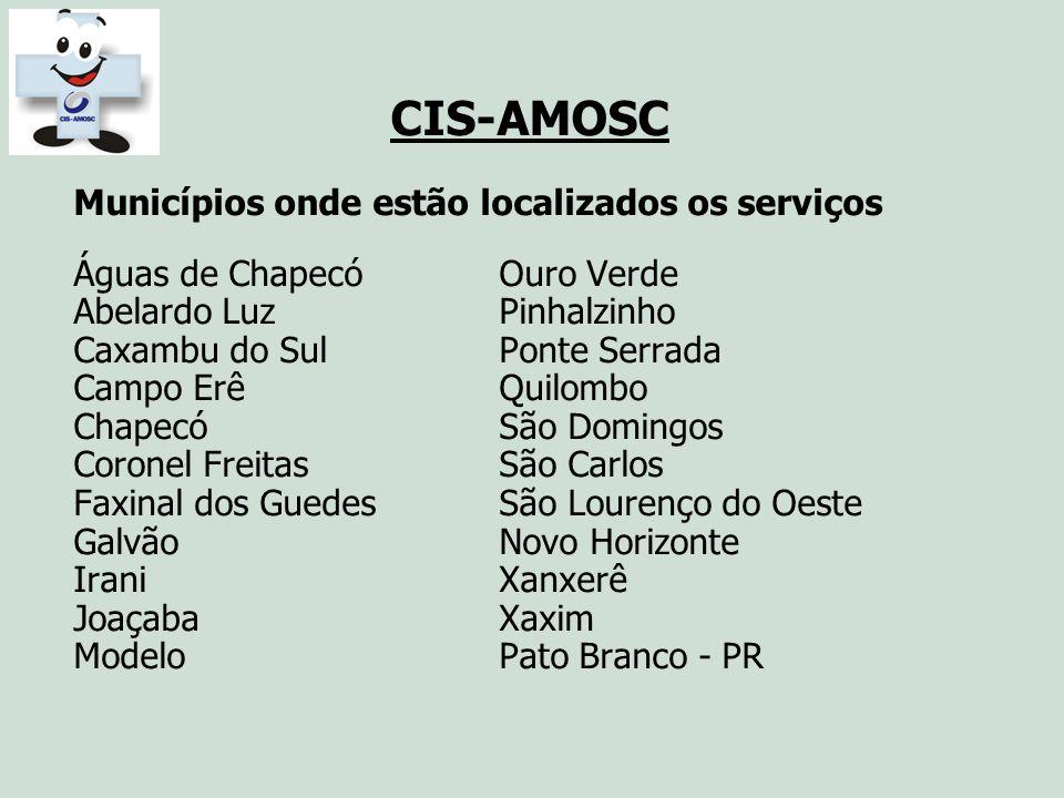 CIS-AMOSC Municípios onde estão localizados os serviços Águas de ChapecóOuro Verde Abelardo LuzPinhalzinho Caxambu do SulPonte Serrada Campo ErêQuilom