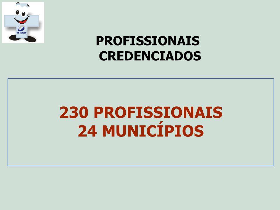 PROFISSIONAIS CREDENCIADOS 230 PROFISSIONAIS 24 MUNICÍPIOS