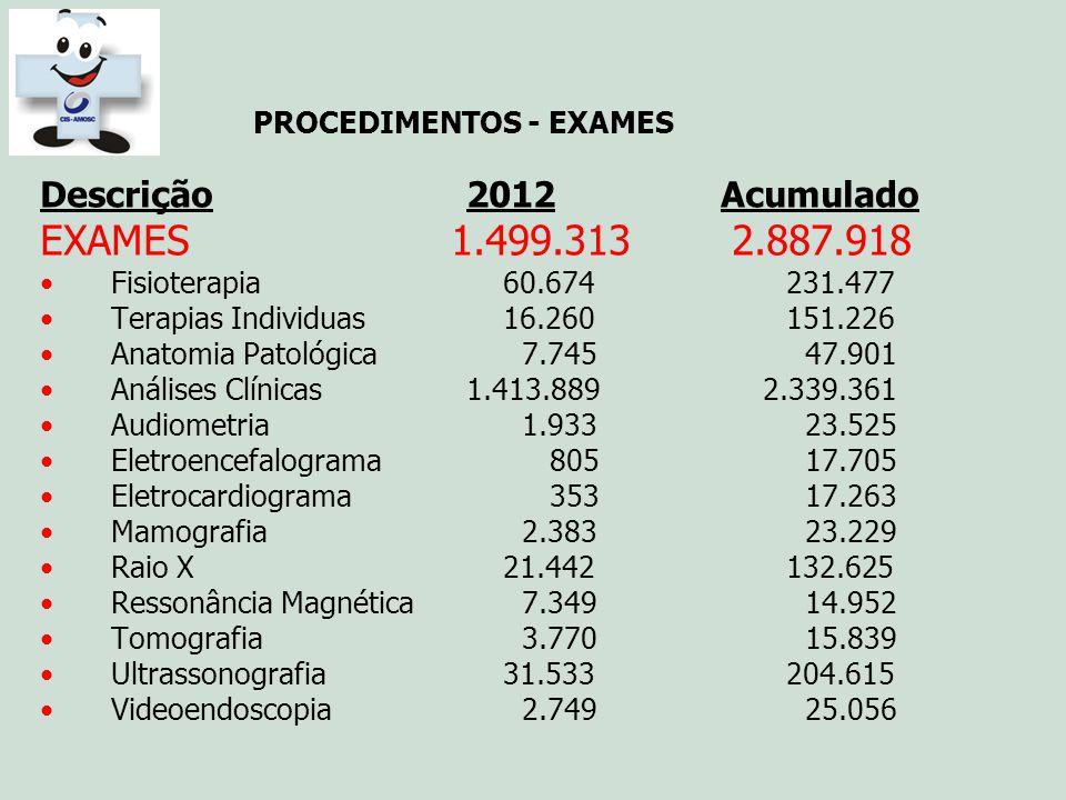 PROCEDIMENTOS - EXAMES Descrição2012 Acumulado EXAMES 1.499.313 2.887.918 Fisioterapia 60.674231.477 Terapias Individuas 16.260151.226 Anatomia Patoló