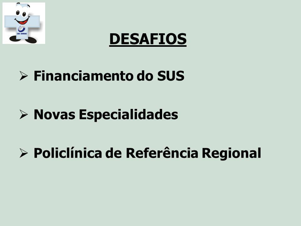 DESAFIOS Financiamento do SUS Novas Especialidades Policlínica de Referência Regional