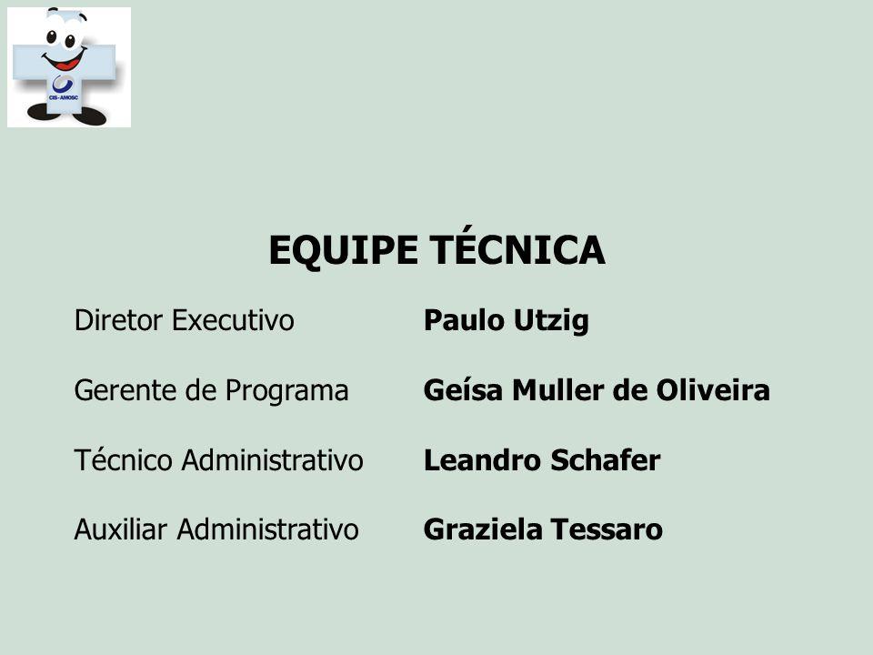 EQUIPE TÉCNICA Diretor ExecutivoPaulo Utzig Gerente de ProgramaGeísa Muller de Oliveira Técnico AdministrativoLeandro Schafer Auxiliar AdministrativoG