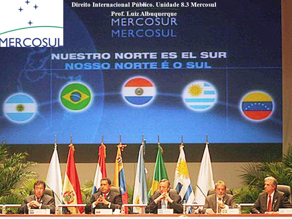Subdivisões da Unidade 8.3 8.3.1 Introdução Histórica ao Mercosul 8.3.2 Tratado de Assunção e o Direito da Integração 8.3.3 Protocolo de Ouro e a Estrutura Institucional do Mercosul 8.3.4 Protocolo de Olivos e o Sistema de Solução de Controvérsias do Mercosul 2