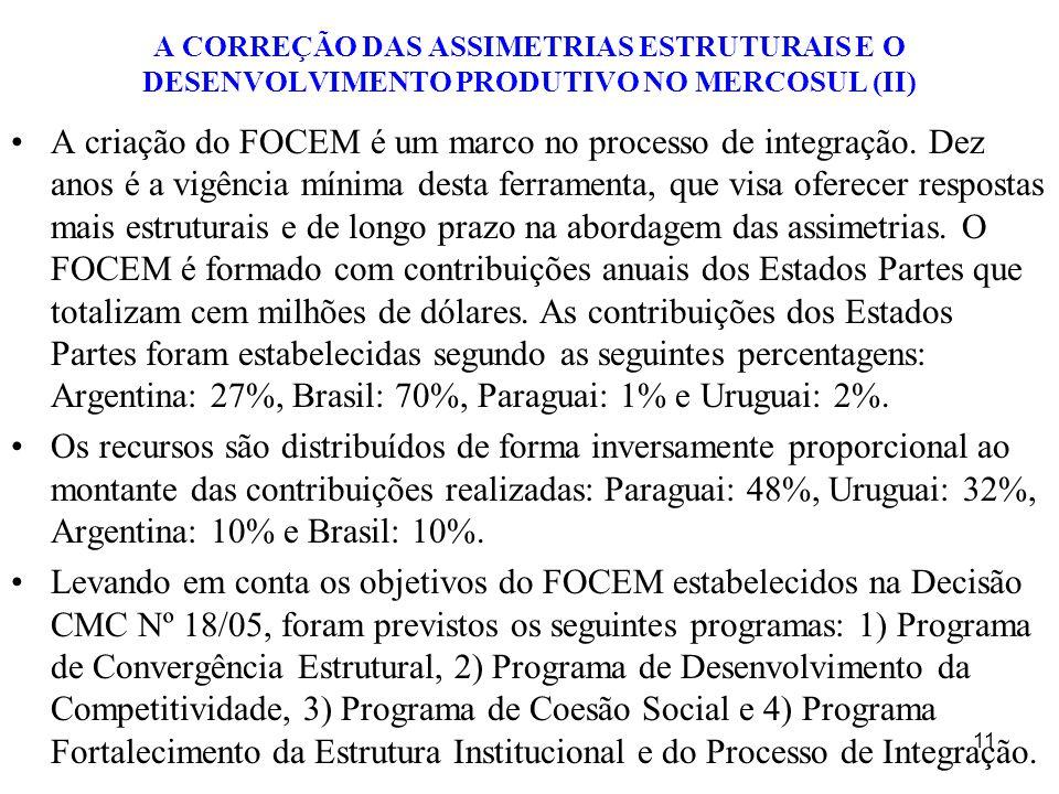 A CORREÇÃO DAS ASSIMETRIAS ESTRUTURAIS E O DESENVOLVIMENTO PRODUTIVO NO MERCOSUL (II) A criação do FOCEM é um marco no processo de integração. Dez ano