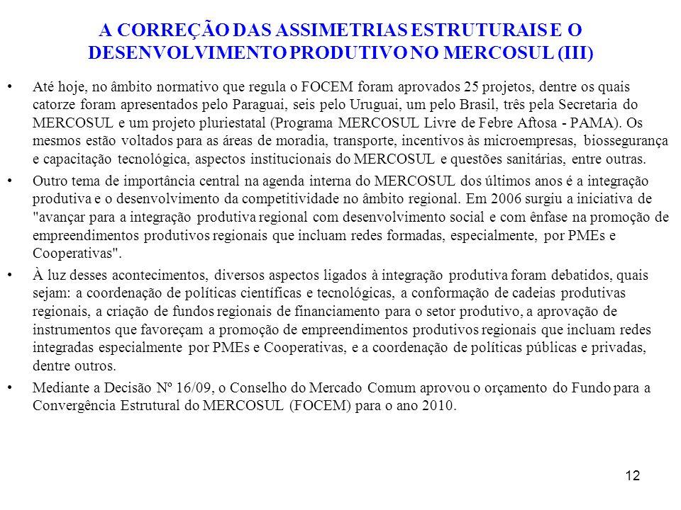 A CORREÇÃO DAS ASSIMETRIAS ESTRUTURAIS E O DESENVOLVIMENTO PRODUTIVO NO MERCOSUL (III) Até hoje, no âmbito normativo que regula o FOCEM foram aprovado