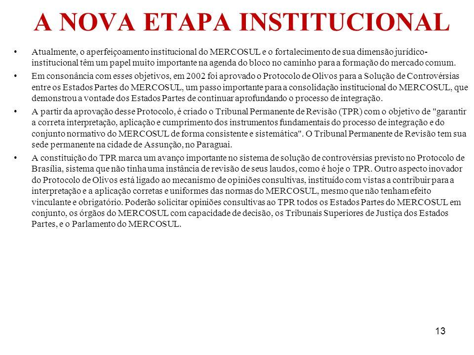 A NOVA ETAPA INSTITUCIONAL Atualmente, o aperfeiçoamento institucional do MERCOSUL e o fortalecimento de sua dimensão jurídico- institucional têm um p