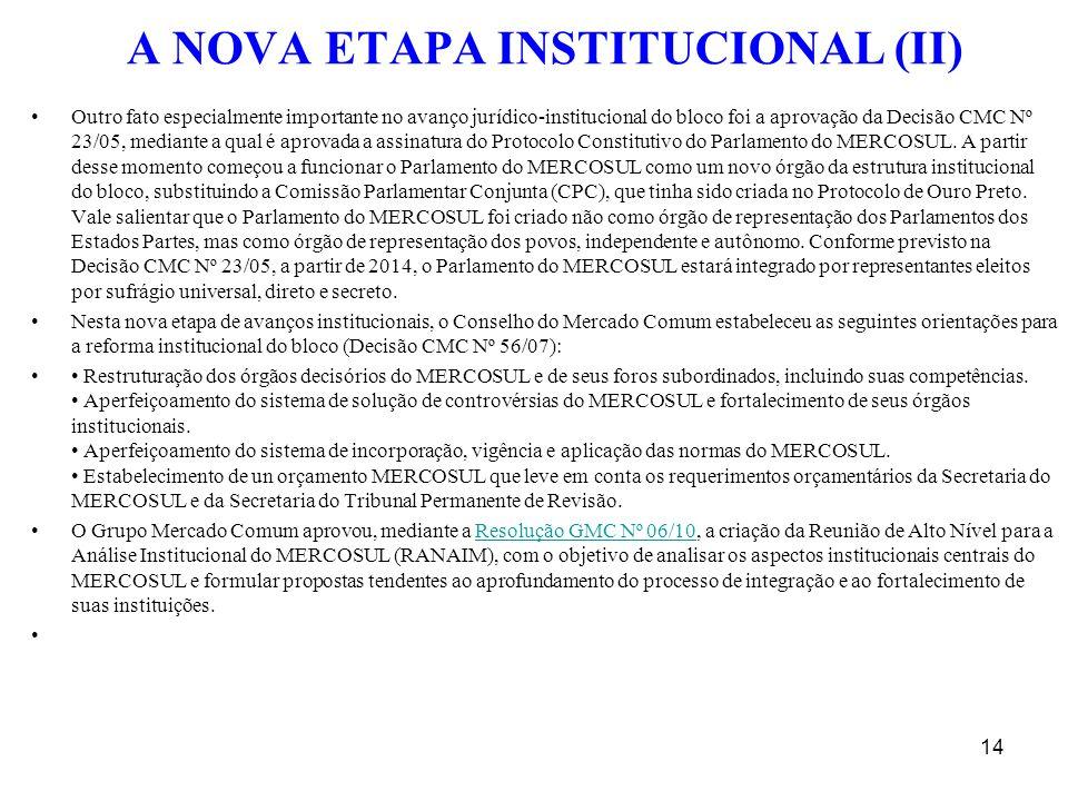 A NOVA ETAPA INSTITUCIONAL (II) Outro fato especialmente importante no avanço jurídico-institucional do bloco foi a aprovação da Decisão CMC Nº 23/05,