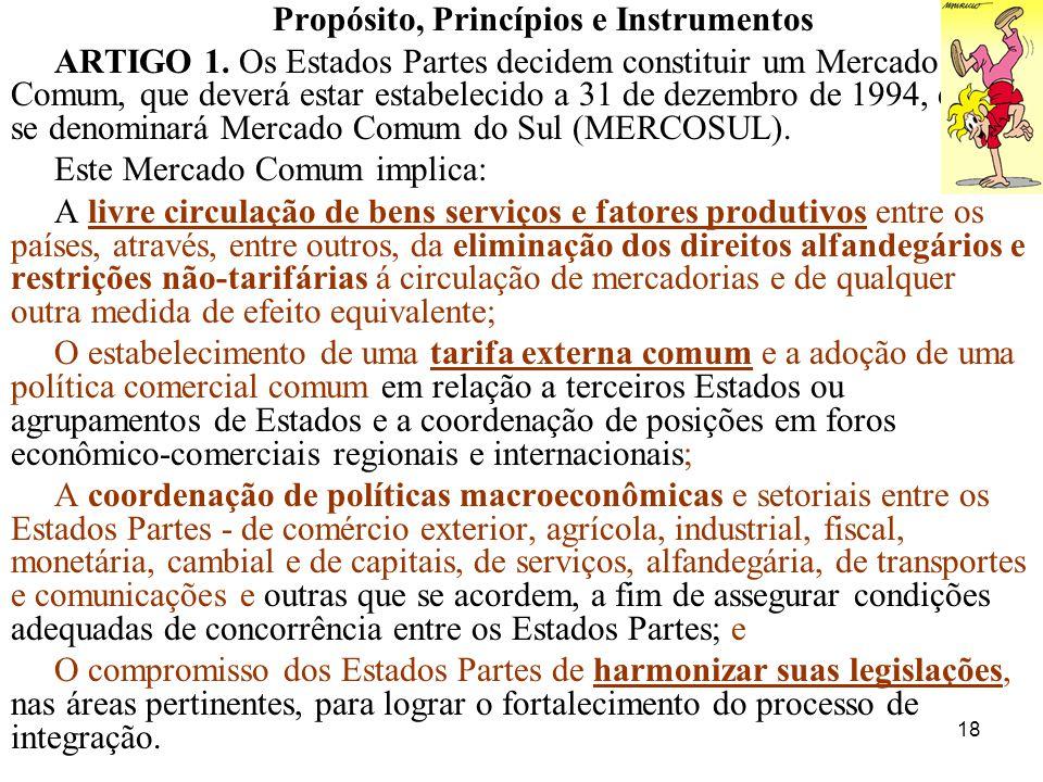 18 Propósito, Princípios e Instrumentos ARTIGO 1. Os Estados Partes decidem constituir um Mercado Comum, que deverá estar estabelecido a 31 de dezembr