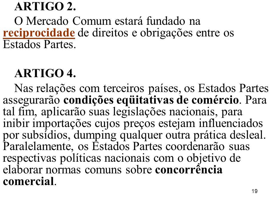 19 ARTIGO 2. O Mercado Comum estará fundado na reciprocidade de direitos e obrigações entre os Estados Partes. ARTIGO 4. Nas relações com terceiros pa