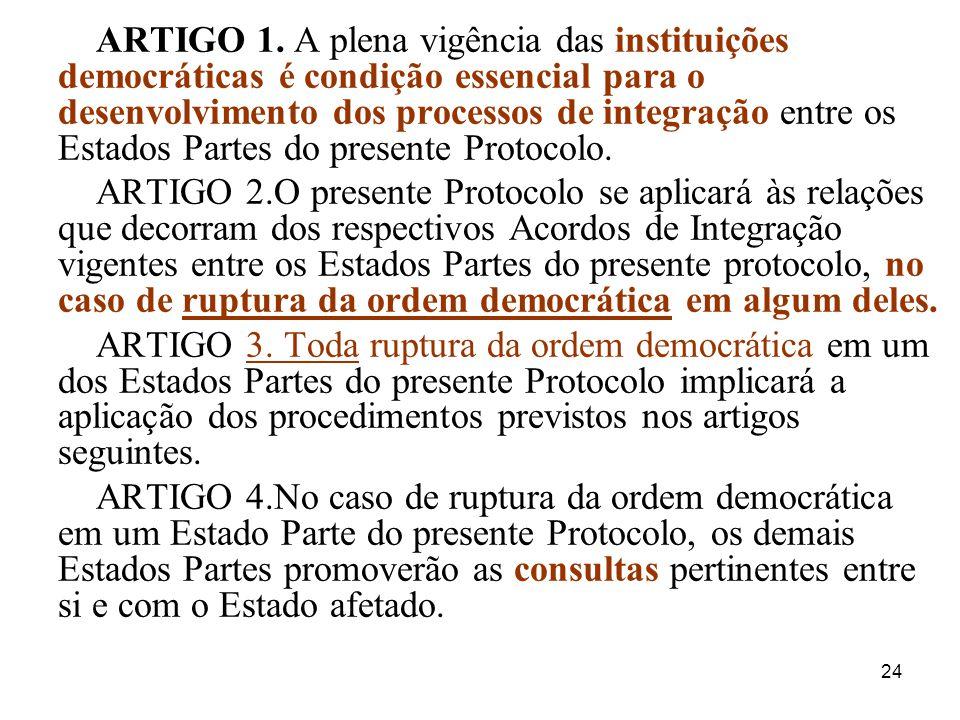 24 ARTIGO 1. A plena vigência das instituições democráticas é condição essencial para o desenvolvimento dos processos de integração entre os Estados P