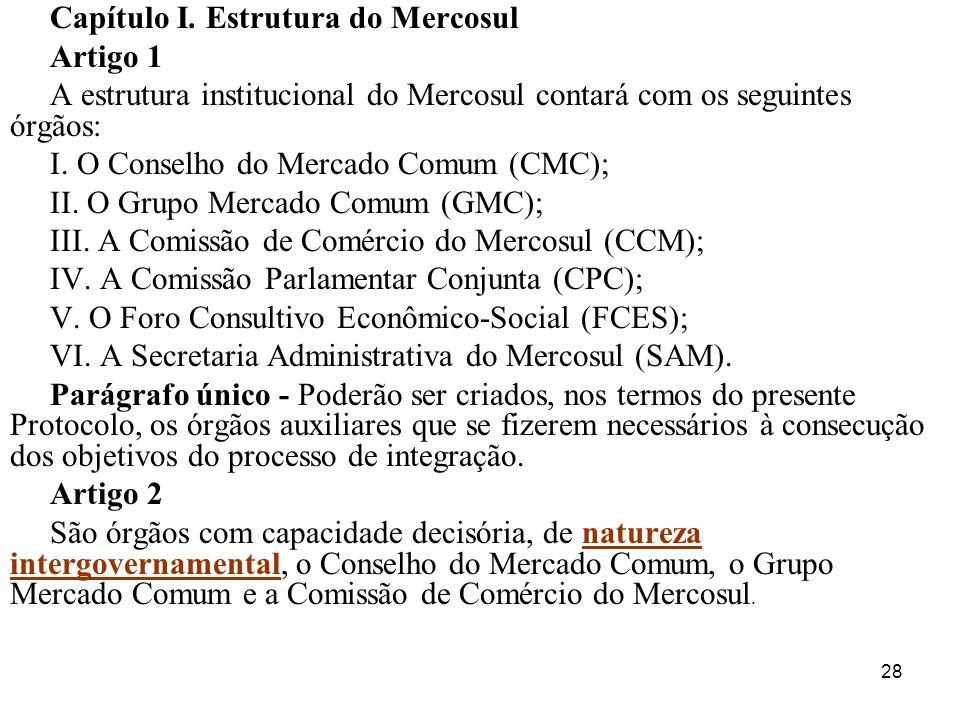 28 Capítulo I. Estrutura do Mercosul Artigo 1 A estrutura institucional do Mercosul contará com os seguintes órgãos: I. O Conselho do Mercado Comum (C