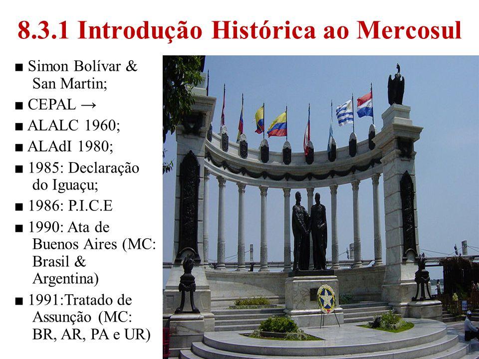 3 8.3.1 Introdução Histórica ao Mercosul Simon Bolívar & San Martin; CEPAL ALALC 1960; ALAdI 1980; 1985: Declaração do Iguaçu; 1986: P.I.C.E 1990: Ata