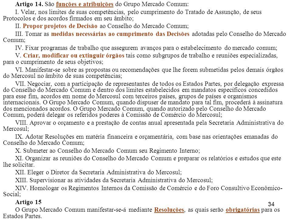 34 Artigo 14. São funções e atribuições do Grupo Mercado Comum: I. Velar, nos limites de suas competências, pelo cumprimento do Tratado de Assunção, d