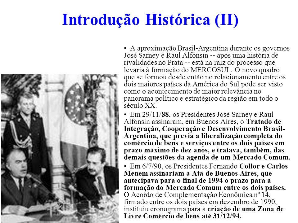 5 Introdução Histórica (III) A incorporação do Paraguai e do Uruguai ao processo de aproximação Brasil- Argentina levaria, em 1991, à criação do MERCOSUL.