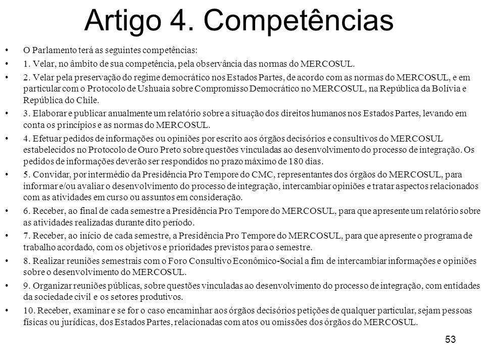 Artigo 4. Competências O Parlamento terá as seguintes competências: 1. Velar, no âmbito de sua competência, pela observância das normas do MERCOSUL. 2