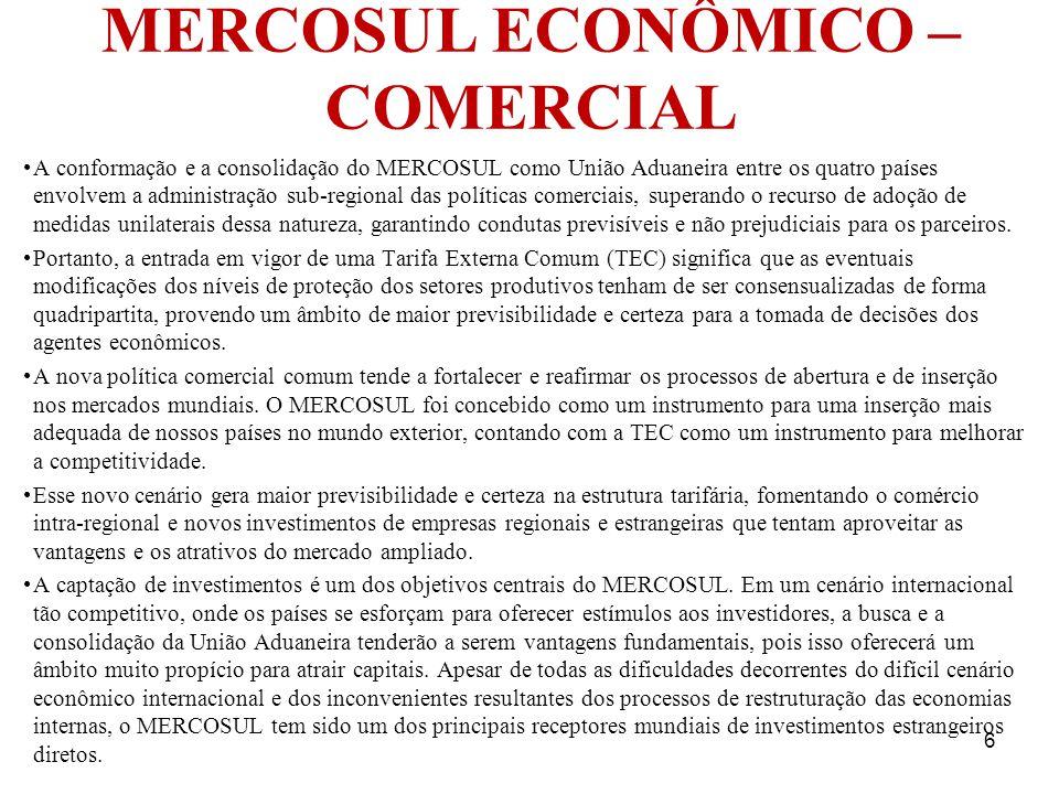 MERCOSUL ECONÔMICO – COMERCIAL A conformação e a consolidação do MERCOSUL como União Aduaneira entre os quatro países envolvem a administração sub-reg