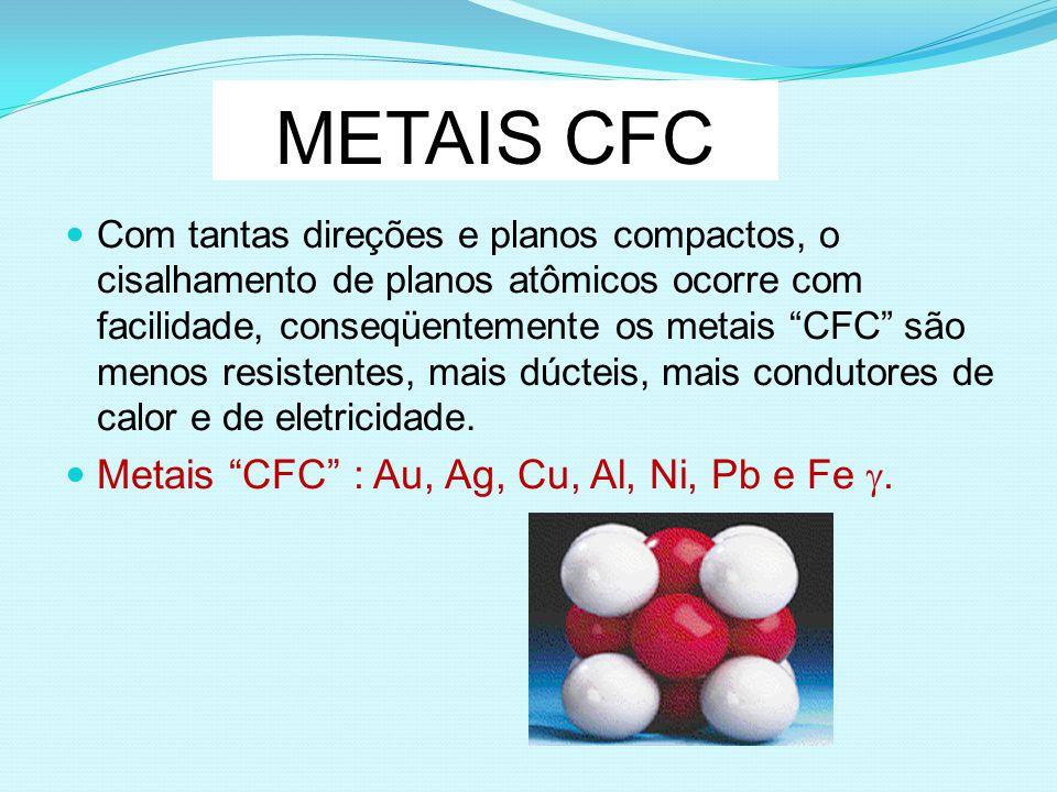 METAIS CFC Com tantas direções e planos compactos, o cisalhamento de planos atômicos ocorre com facilidade, conseqüentemente os metais CFC são menos r