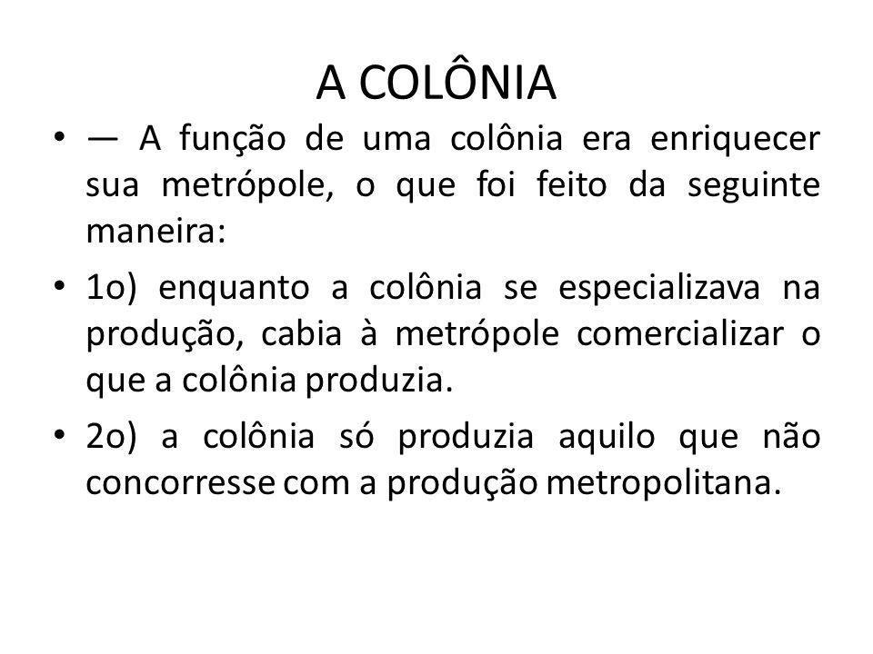 A COLÔNIA A função de uma colônia era enriquecer sua metrópole, o que foi feito da seguinte maneira: 1o) enquanto a colônia se especializava na produç
