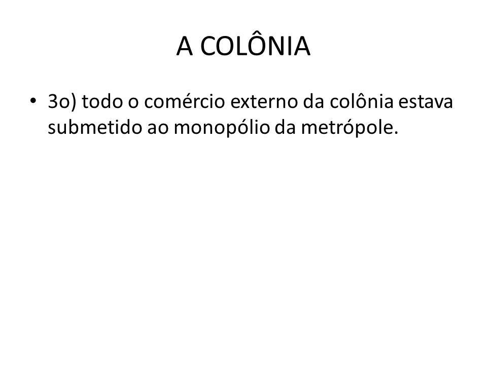 A COLÔNIA 3o) todo o comércio externo da colônia estava submetido ao monopólio da metrópole.