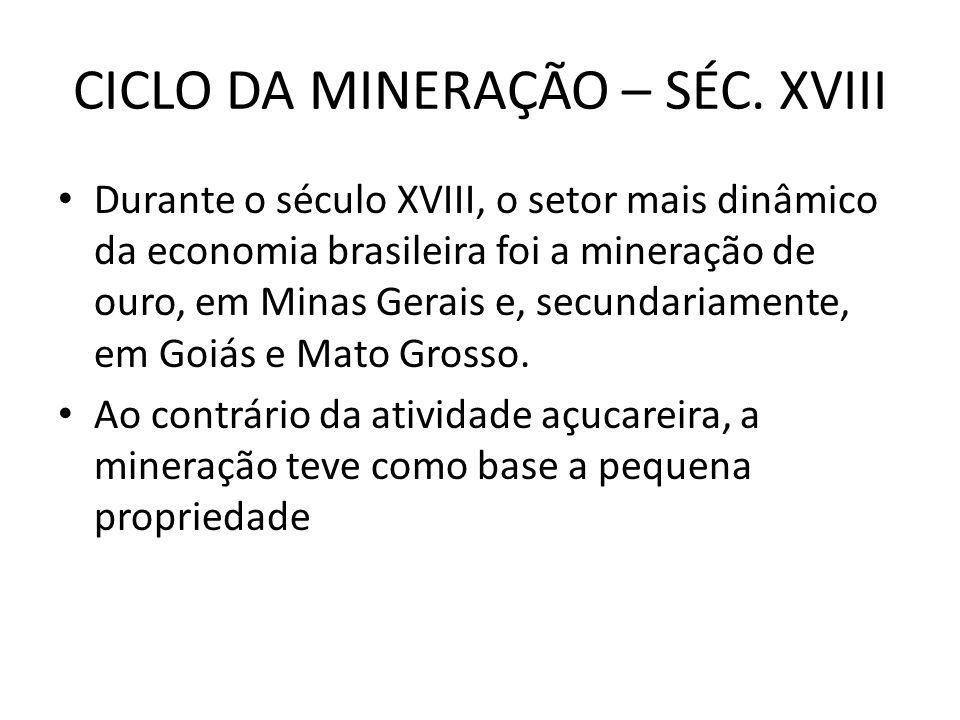 CICLO DA MINERAÇÃO – SÉC. XVIII Durante o século XVIII, o setor mais dinâmico da economia brasileira foi a mineração de ouro, em Minas Gerais e, secun