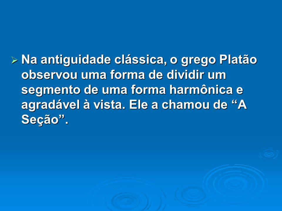 Na antiguidade clássica, o grego Platão observou uma forma de dividir um segmento de uma forma harmônica e agradável à vista. Ele a chamou de A Seção.
