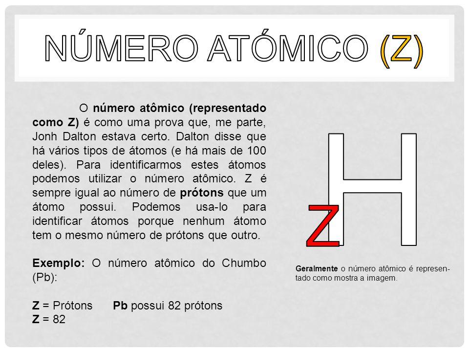 O número atômico (representado como Z) é como uma prova que, me parte, Jonh Dalton estava certo. Dalton disse que há vários tipos de átomos (e há mais
