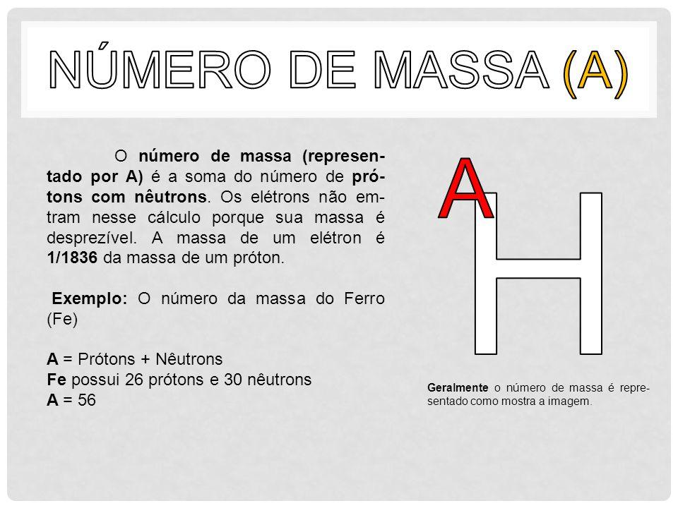 O número de massa (represen- tado por A) é a soma do número de pró- tons com nêutrons. Os elétrons não em- tram nesse cálculo porque sua massa é despr