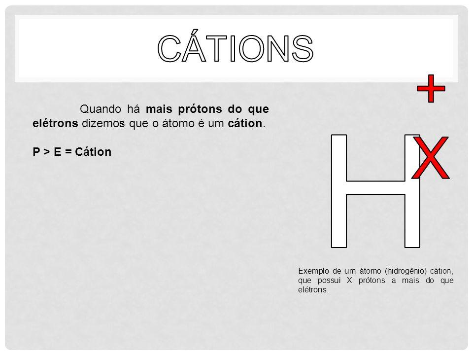 Quando há mais prótons do que elétrons dizemos que o átomo é um cátion. P > E = Cátion Exemplo de um átomo (hidrogênio) cátion, que possui X prótons a
